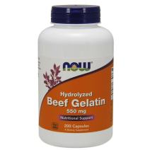 NOW Supplements, Beef Gelatin 550 mg, Hydrolyzed, Nutritional Support, 200 Capsules