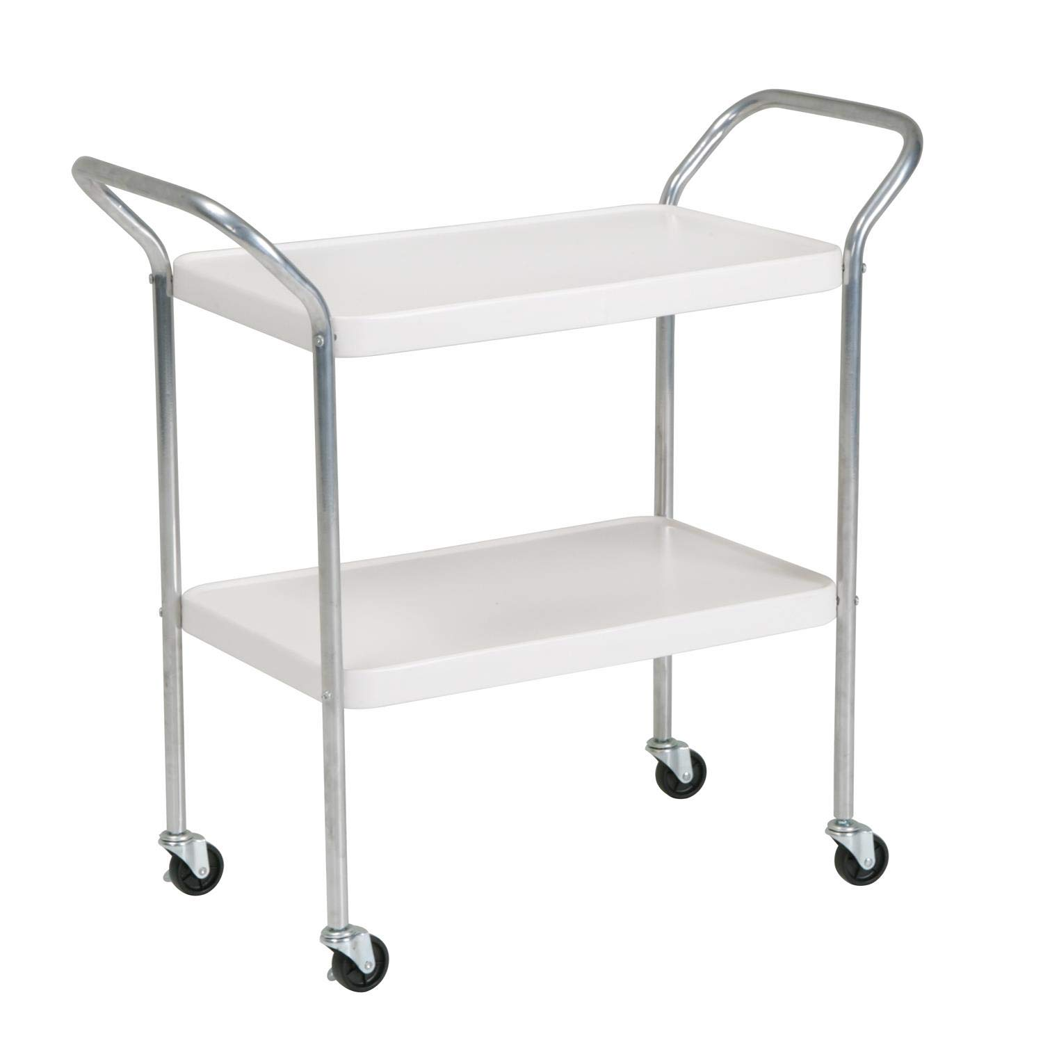 COSCO Stylaire 2 Tier Serving Cart, White & Silver