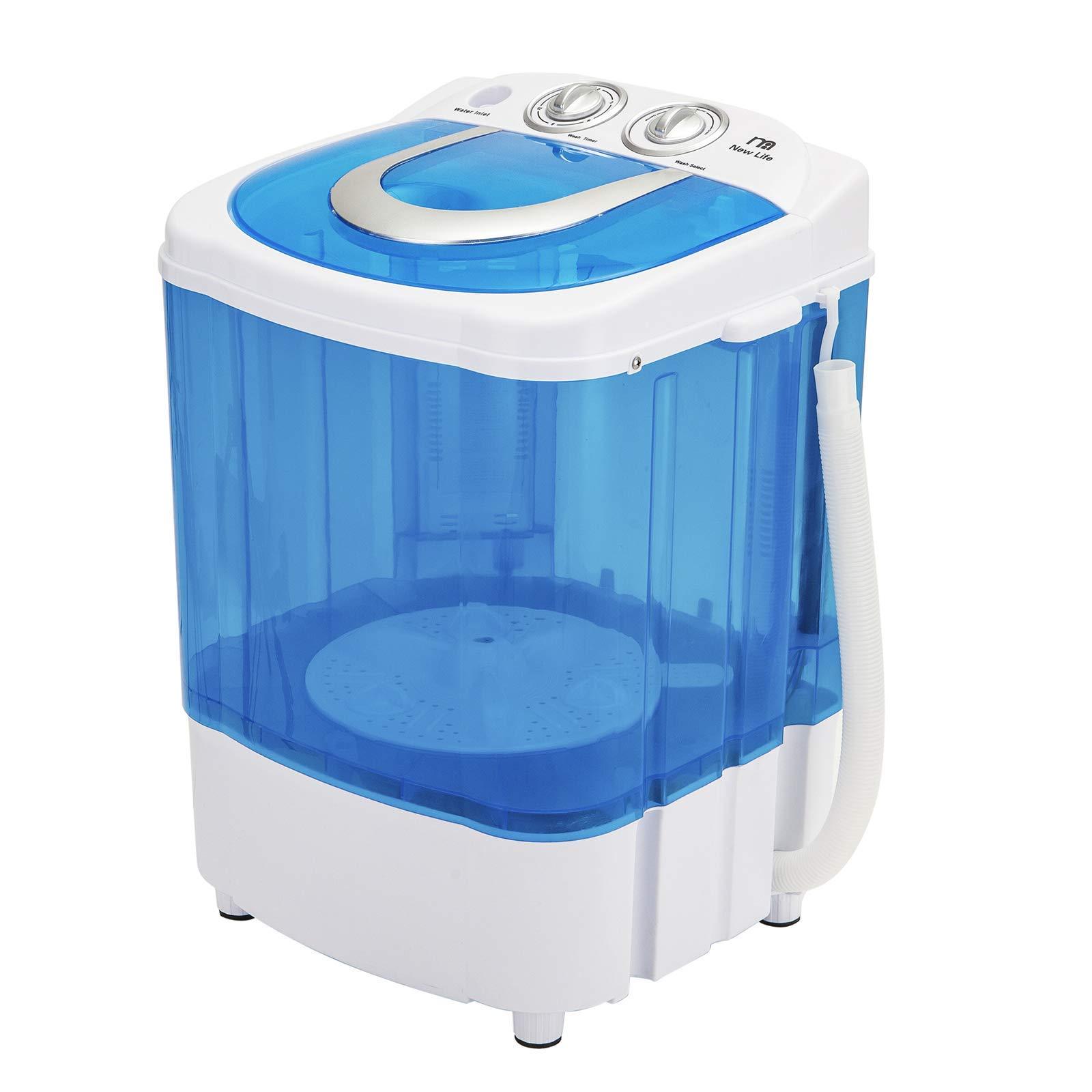 Mini Portable Washing Machine, 10lbs Capacity, Small Semi-Automatic, MUMU New Life Single Tub Compact Washer with Timer Control
