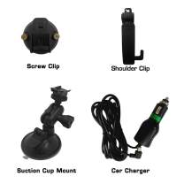 CammPro Body Worn Camera Accessories Bundle Kit, Screw Clip+Car Charger+Suction Cup Mount+Shoulder Clip and External Camera for I826 and M831 (for M831 & I826)