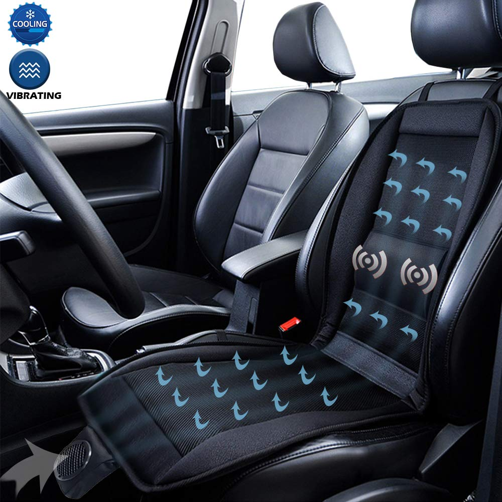 Big Ant Cooling Car Seat Cushion, Massage Lumbar Support Cool Seat Cover, Car Seat Cooling Pad Air Conditioned Seat Cooler with Fan for Cars Home Office(Black-1PC)