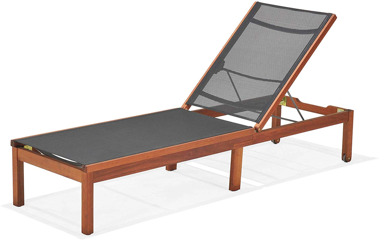 Amazonia Chaise 1-Piece Patio Sling Lounger | Eucalyptus Wood | Ideal for Outdoors and Poolside, Black