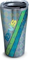 Tervis 1277019 Tervis Geometric Stainless Steel Tumbler with Clear and Black Hammer Lid 20oz, Silver