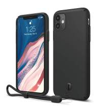 elago iPhone 11 Slim Fit Case with Attachable Wrist Strap/Lanyard, Slim, Light, Matte Coating, Camera and Screen Protection Designed for iPhone 11 Case [Black]