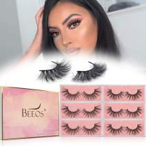 BEEOS Mink Eyelashes Natural, False Eyelashes 20mm Middle Long Full Volume Crossed Type 2 Styles Multipack for Daily Use Real Siberian Eye Lashes Reusable Lightweight Strips 3D Mink Lashes (6 Pairs|D22, A21)
