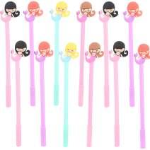 Maydahui 24PCS Cute Mermaid Rollerball Pen Black Gel Ink Pens Funny Cartoon Design for Kids Party Gift School Office