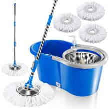 """Deluxe 360 Spin Mop Upgraded Stainless Steel Bucket 9.8""""x18""""x7.9"""" with 3 Pcs Microfiber Mop Heads Floor Cleaning System and Adjustable Mop Pole"""