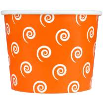 Orange Paper Dessert Cups - 12 oz Swirls And Twirls Ice Cream Bowls - Perfect For Your Yummy Foods! Many Colors & Sizes - Frozen Dessert Supplies - 100 Count