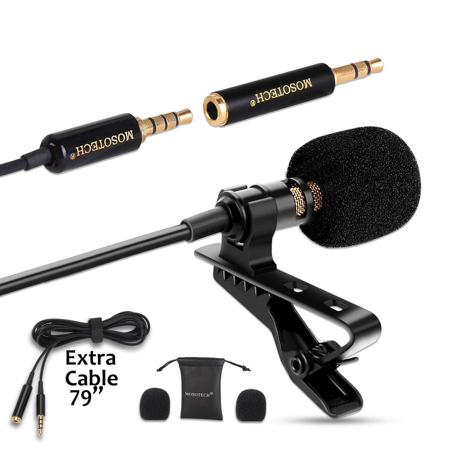 Lavalier Microphone, Omnidirectional Condenser Lavalier MIC for Recording YouTube Interview (Suitable for iPhone/Android/Windows/Camera)