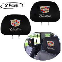 2 Pack for Cadillac Headrest Covers, Luxury Black Fabric HeadRest Cover with Car Logo, Universal Fits to All Car Models, (fit Cadillac Embroid Logo)