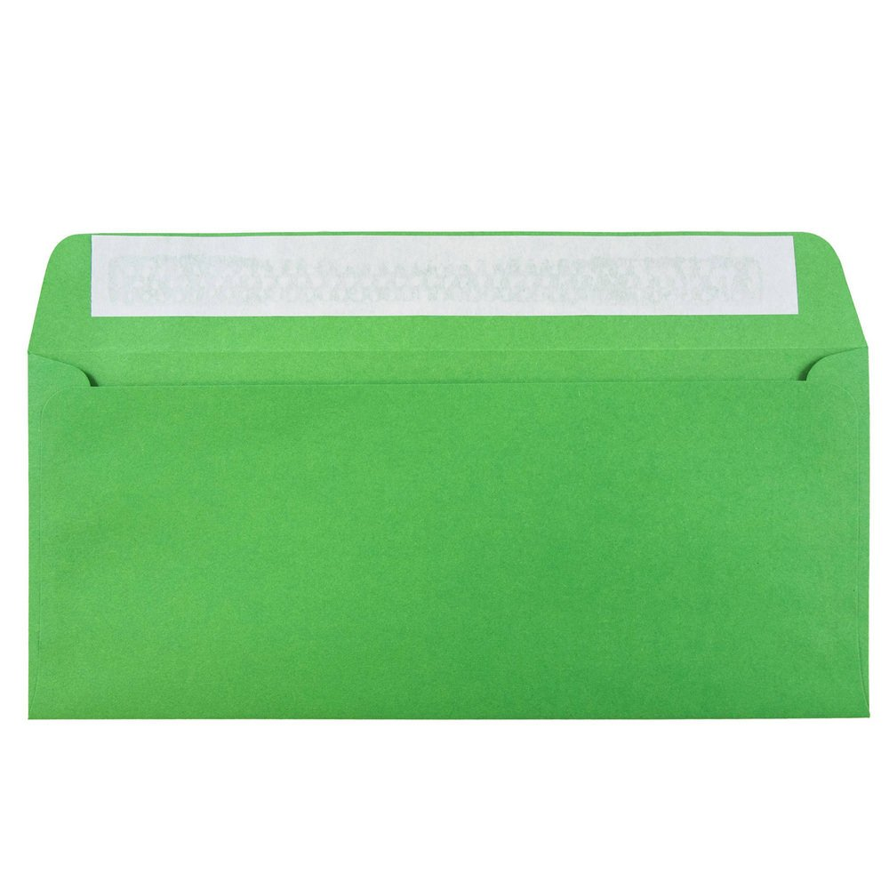 JAM PAPER #10 Business Colored Envelopes with Peel and Seal Closure - 4 1/8 x 9 1/2 - Green Recycled - Bulk 500/Box