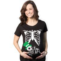 Maternity Leprechaun Skeleton Baby Funny Saint Patricks Day Announcement T Shirt