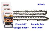 """24 Inch Chainsaw 3/8"""" Pitch 0.050'' Gauge Full Chisel Sawchain 84 Drive Links (3 PACK)"""
