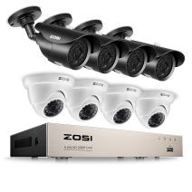 ZOSI 1080p 8CH Security Camera System, 8Channel 1080P Surveillance DVR Recorder with (8) HD 2.0MP 1920TVL Weatherproof Outdoor Bullet/Dome CCTV Cameras with 120ft/65ft night vision, (No Hard Drive)