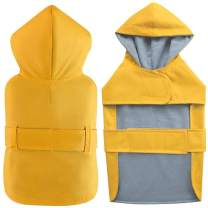 LeerKing Dog Raincoat with Hood Waterproof Clothes Rain Jackets for Small to Big Dogs Rain Poncho with Strip Puppies Lightweight Raincoats,Yellow,S