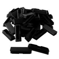uxcell 40pcs Plastic Rectangle 25 x 75mm Tube Inserts Pipe Tubing End Covers Caps Furniture Glide Floor Protector Black