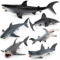 Fantarea Ocean Sea Marine Animal Figures Models Shark Collection Collector Party Favors Playset Bath Cognitive Toys for Boys Girls Kid 5 6 7 8 Years Old(6 pcs)