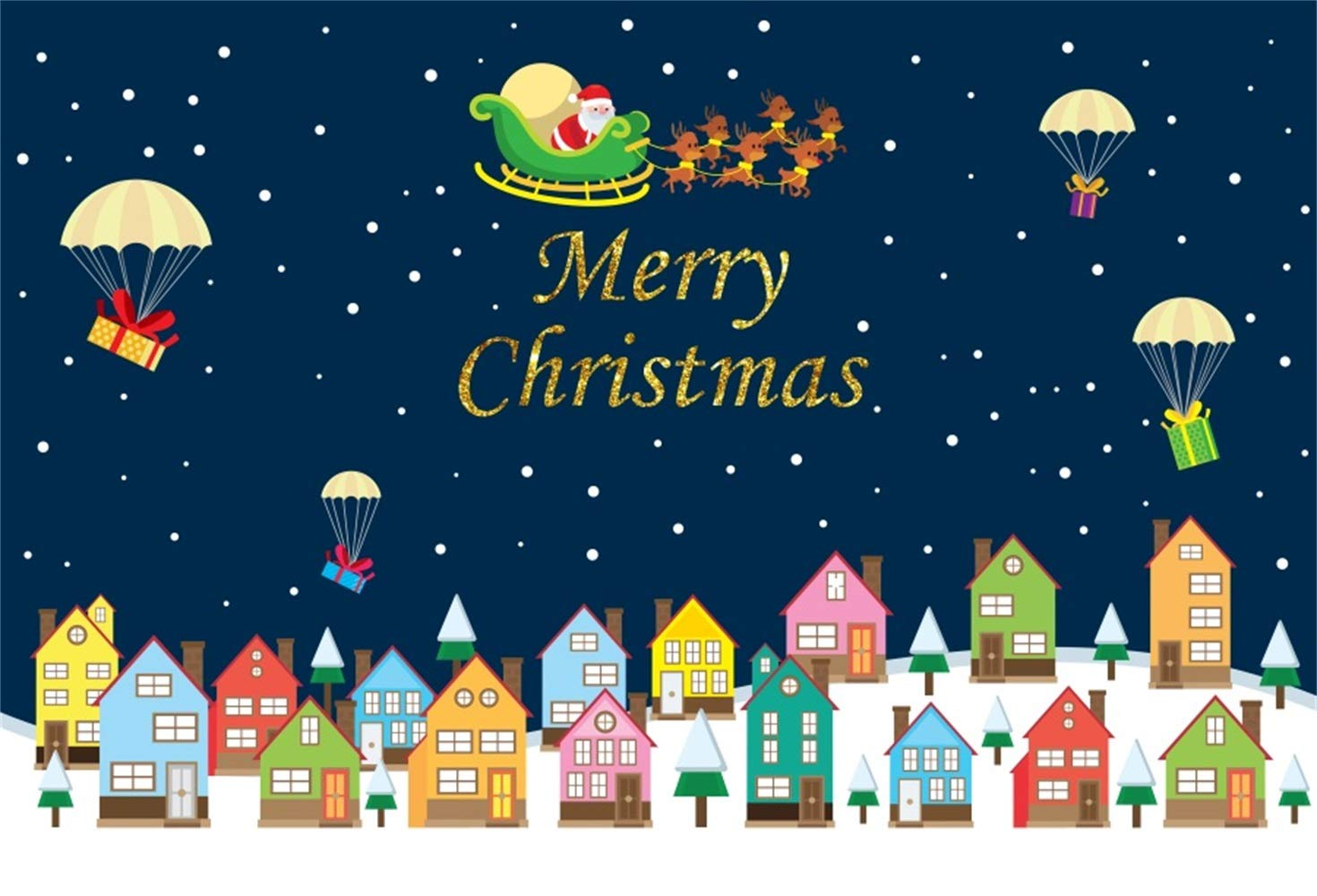 Laeacco Merry Christmas Backdrop Vinyl 7x5ft Cartoon Blocks Colorful Houses Fireballoon Gifts Santa Claus Starry Sky Photography Background New Year Xmas Party Banner Child Baby Adult Portrait Shoot