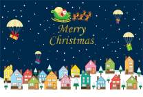 Laeacco Merry Christmas Backdrop Vinyl 5x3ft Cartoon Blocks Colorful Houses Fireballoon Gifts Santa Claus Starry Sky Photography Background New Year Xmas Party Banner Child Baby Adult Portrait Shoot