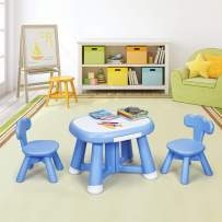 Costzon Kids Table and Chair Set, Children Activity Table Set, 1 Craft Table & 2 Kids Chairs, Compact Table with 2 Small Drawers for Pencils and Stationery, Desktop Paste White Panel (Blue)