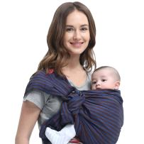 Mamaway Ring Sling Baby Wrap Carrier for Infant, Newborn, Toddler, Nursing Cover, Breastfeeding Privacy, Baby Holder, Breathable Fabric, 100% Cotton-Blueberry Brownie