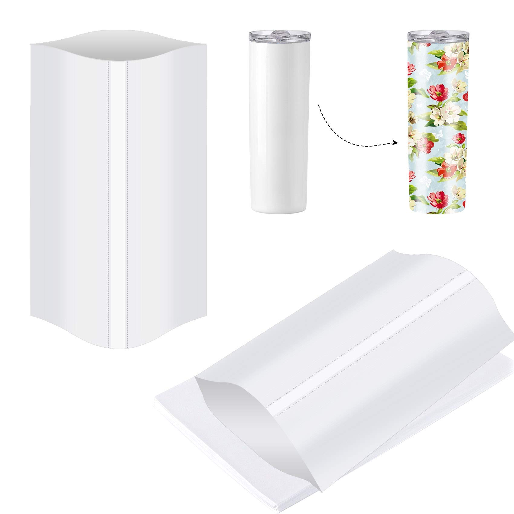 7x11 Inch Sublimation Shrink Wrap Sleeves, 60 Pcs White Sublimation Shrink Wrap for Tumblers, Mugs, Cups and More, Sublimation Shrink Film