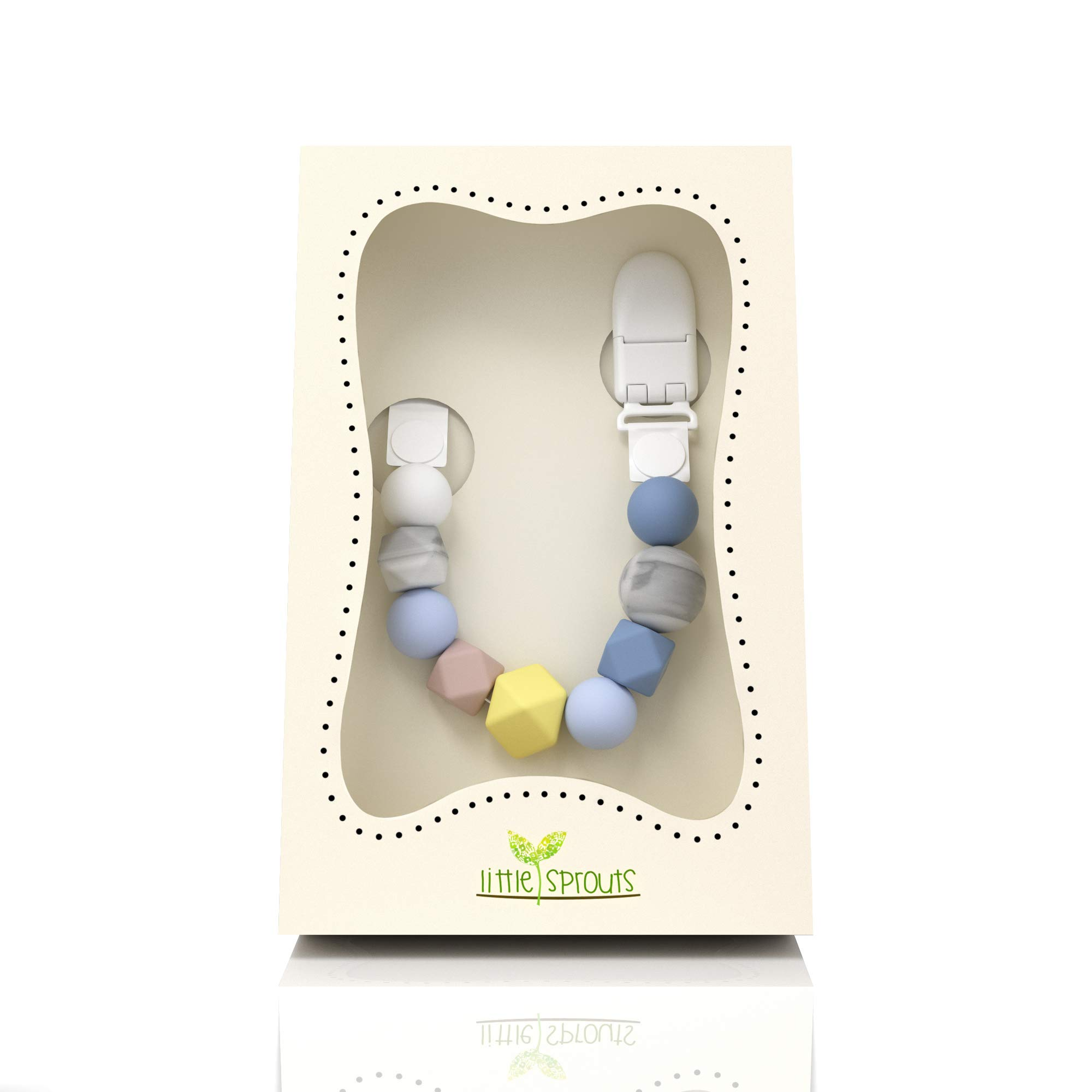 Pacifier Clip, Modern & Trendy - 2 in 1 BPA Free Silicone Teether Beads with Unique Shapes – Best Pacifier Holder for Teether Toys, Stuffed Animals, Soothie/MAM, Infant Blankets & Drool Bibs for Boys