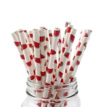 50-Pack Biodegradable Paper Drinking Straws for Party Supplies Bridal/Baby Shower Wedding Decorations, Bulk Paper Straws for Juices, Shakes, Smoothies, Watermelon Theme