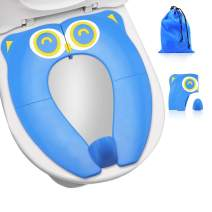 Upgrade Folding Large Non Slip Silicone Pads Travel Portable Reusable Potty Training Seat Suitable for Most Toilets,with Carry Bag for Toddlers and Kids, Blue