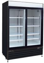 "Kool-It KSM-42 Aluminum Glass Double Door Cooler with Casters, 42 cu. ft. Capacity,  52.4"" x 28.3"" x 79.5"" Depth, White"