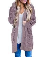 LEANI Women's Long Sleeve Chunky Knit Popcorn Sweater Cardigan Open Front Outerwear with Pockets