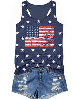 KIDDAD 4th of July Tank Tops American Flag Stars Striped Tee Shirt Independence Day Sleeveless Shirt