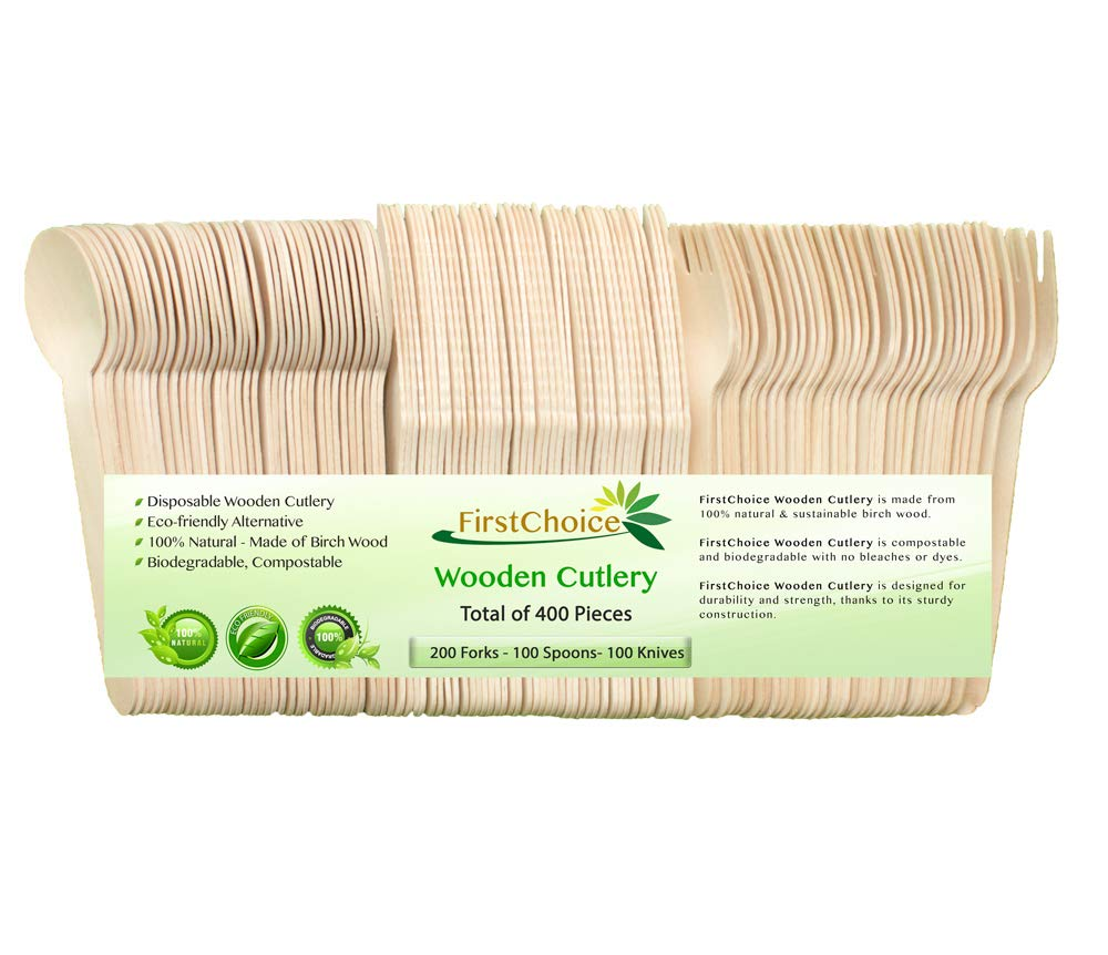 """Disposable Wooden Cutlery Sets - 400 Piece Total: 200 Forks, 100 Spoons, 100 Knives, 6"""" Length Eco Friendly Biodegradable Compostable Wooden Utensils Wooden Cutlery"""