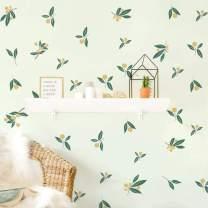 Runtoo Tangerine Wall Decals Plant Fruit Leaves Wall Art Stickers 61 Pcs Kids Nursery Living Room Bedroom Decor