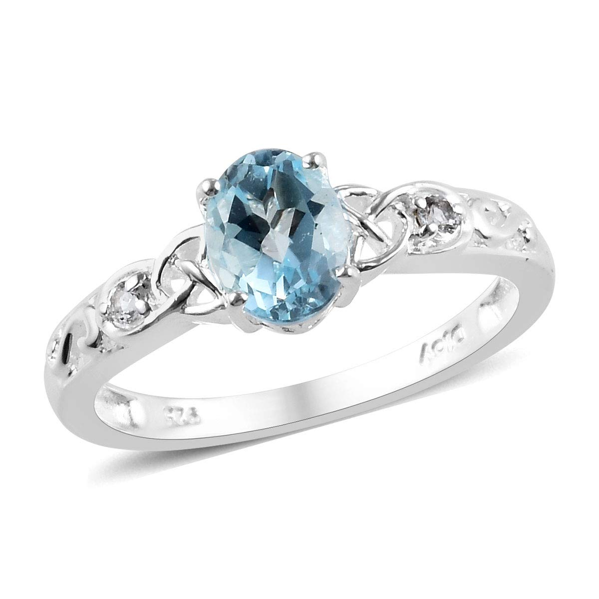 925 Sterling Silver Oval Sky Blue Topaz White Topaz Statement Ring for Women Mothers Day Gifts Cttw 1.2