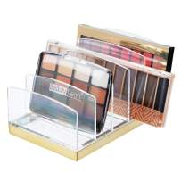 mDesign Plastic Makeup Organizer for Bathroom Countertops, Vanities, Cabinets: Cosmetics Storage Solution for - Eyeshadow Palettes, Contour Kits, Blush, Face Powder - 5 Sections - Clear/Soft Brass