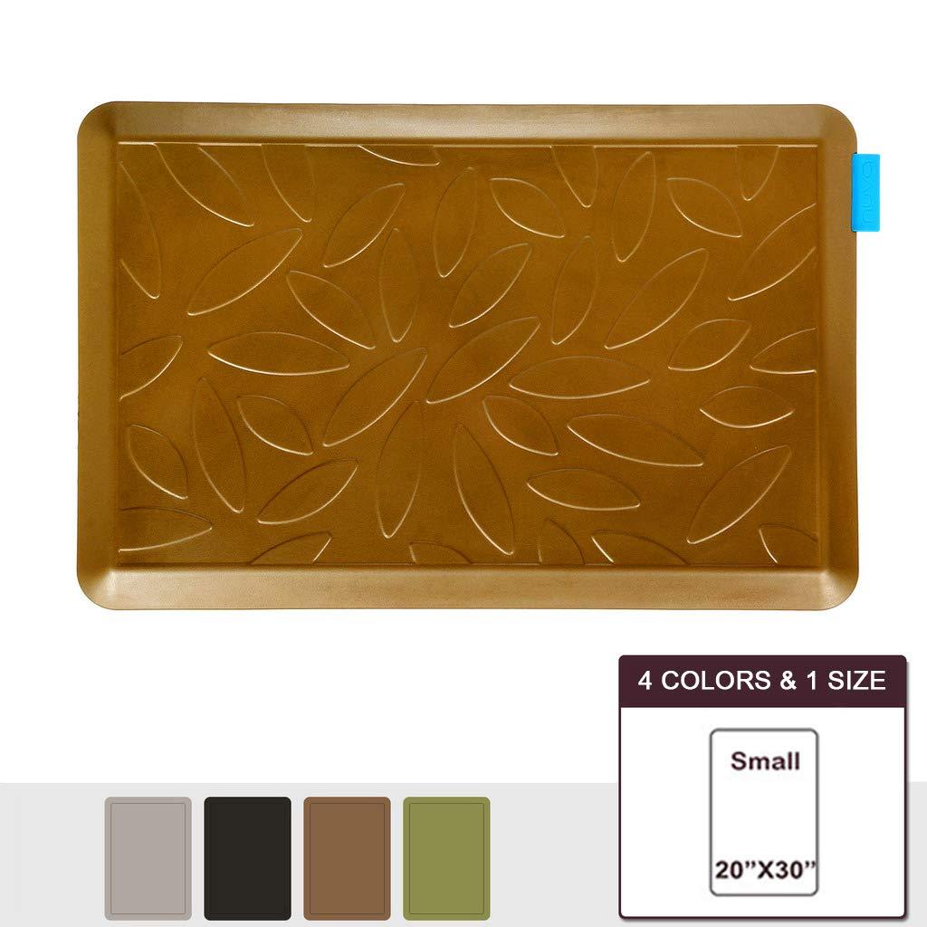 NUVA Premium Standing Floor Mat 30 x 20 in, NO PVC!!! 100% PU Comfort Ergonomic Material, 4 Non-slip PU Elastomer Strips on Bottom (Light Brown, Leaf Pattern)