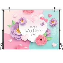 Dudaacvt 7x5ft Happy Mother's Day Backdrops Love Heart Photography Background Flower Backdrop Photography Studio Mother's Day Backdrops Photo Studio Props D162