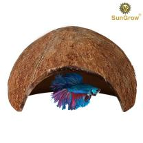 SunGrow Betta Cave, Coconut Shell Habitat, Soft, Smooth Edged Spacious Hideout for Resting and Reproducing, Shelter and Hideout for Betta Babies
