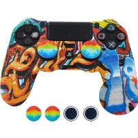 SKINOWN PS4 Controller Skin Grip Silicone Case Anti-Slip Protective Grip Cover for PS4 Controller with 4 Thumb Grips (Paint)