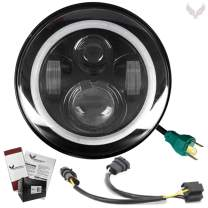 Eagle Lights 7 inch LED Headlight with Halo Ring for Harley Davidson with Dual Bulb Harness