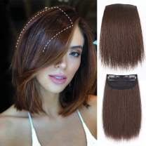 LNERATO Clips in Hair Pieces with Short Straight Brown Hair Piece for Women 6 Inches Synthetic Hair Piece Invisible Hairpin Hair for Adding Hair Volume Fluffy Natural Cushion High Hair.