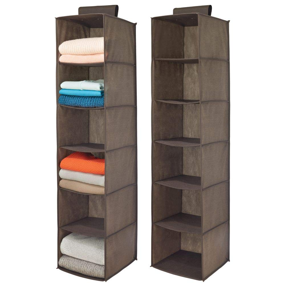 mDesign Long Soft Fabric Over Closet Rod Hanging Storage Organizer with 6 Shelves for Clothes, Leggings, Lingerie, T Shirts - Textured Print with Solid Trim - 2 Pack - Espresso Brown