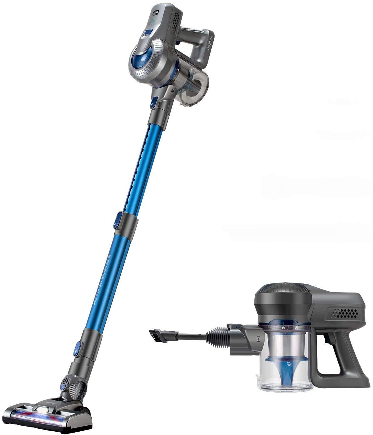 Jajibot Cordless Vacuum, 18KPa Max Suction Stick Vacuum Cleaner, 2-in1 Lightweight Handheld Vacuum with Telescopic Tube, Rechargeable Lithium Battery and LED Headlights Brush, Blue/Gray