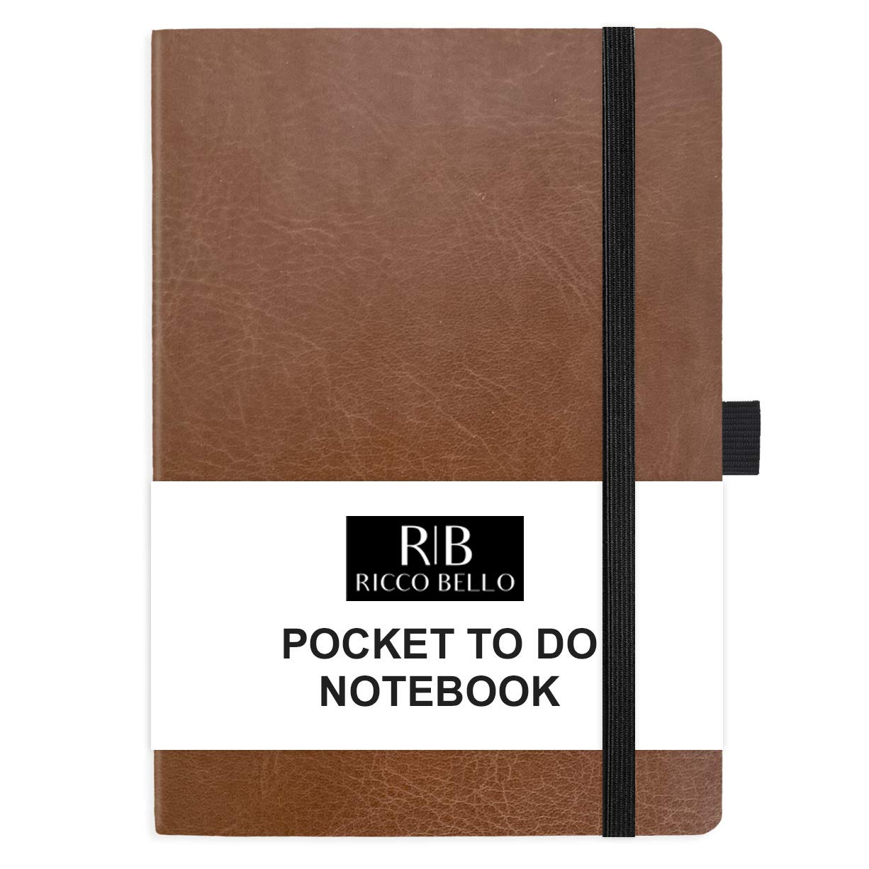 RICCO BELLO Small Hardcover Pocket to Do List Notebook, Elastic Band Closure, Pen Loop, Ribbon Bookmark, Storage Pocket, Vegan Leather 4.25 x 6 inches (Brown)