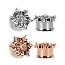 TBOSEN 2 or 4 pcs Snowflake Flower Plugs And Tunnels For Ears Gauges 2g - 1 inch