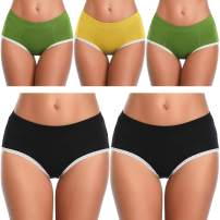 TIMPOM Women's Cotton Underwear Panties,Soft Mid Rise Breathable Underwear Women Briefs Hipster Multipack