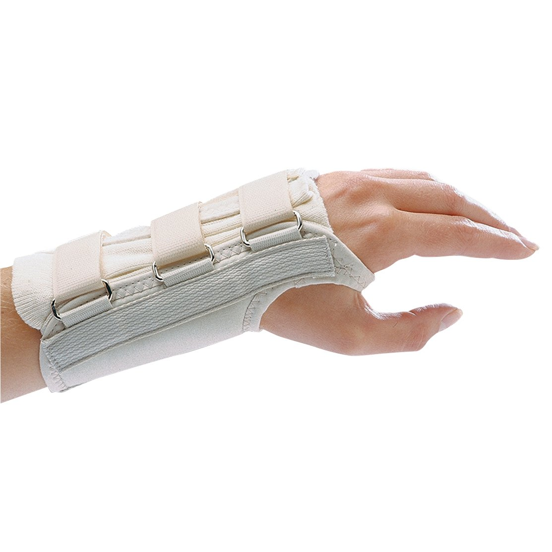 "Rolyan D-Ring Left Wrist Brace, Size Small Fits Wrists 5.75""-6.5"", 8.5"" Long Length Support, Beige Brace with Straps and D-Ring Connectors to Secure and Stabilize Hands and Wrists"