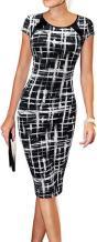 LunaJany Women's Short Sleeve Work Casual Business Church Midi Dress