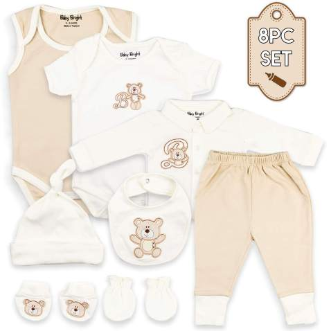 Baby Bright Newborn Clothes for Boy 0 to 3 Months 8 pcs Set Made from 180GSM BioSilky 100% Combed Cotton with Embroidery Includes Bib Mittens Booties Pajama Set Cap and 2 Bodysuits
